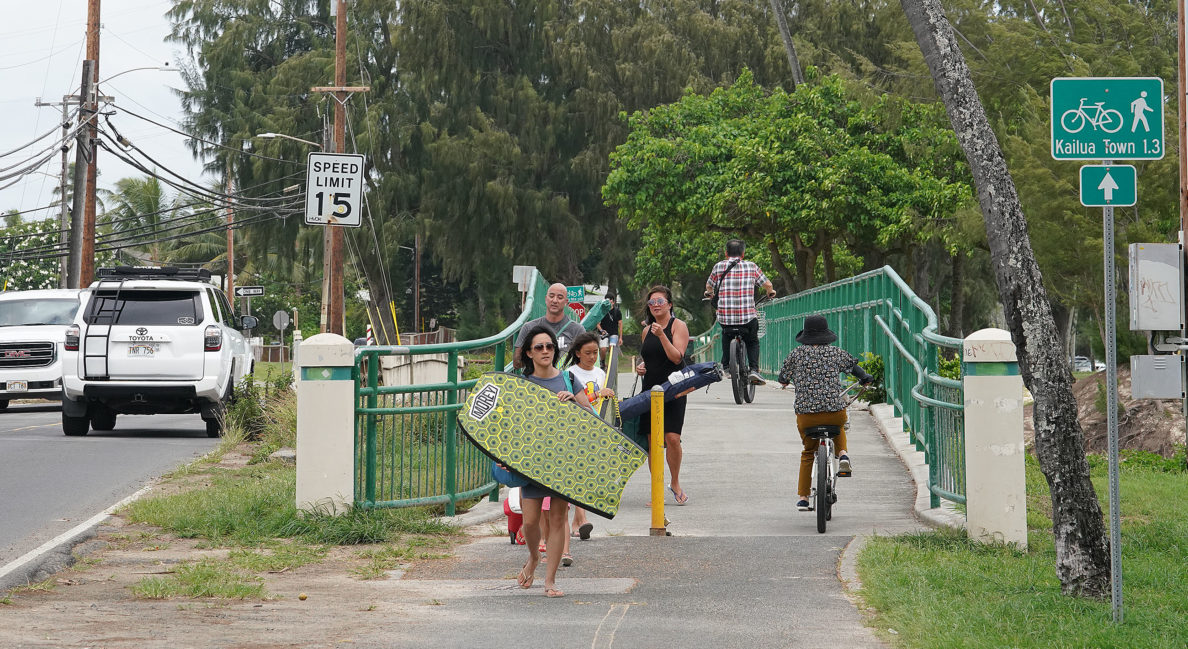Lihiwai Road bridge with beachgoers headed to Kailua Beach.