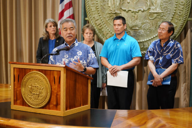 Governor David Ige announces start of the vehicles and State of Hawaii plan on TMT.