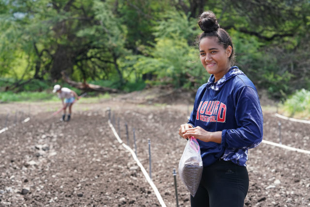 Mao Farms worker 18-year-old Krytyna Kanahele helps with farm. She shared the curiosity of the stool samples when she first joined.