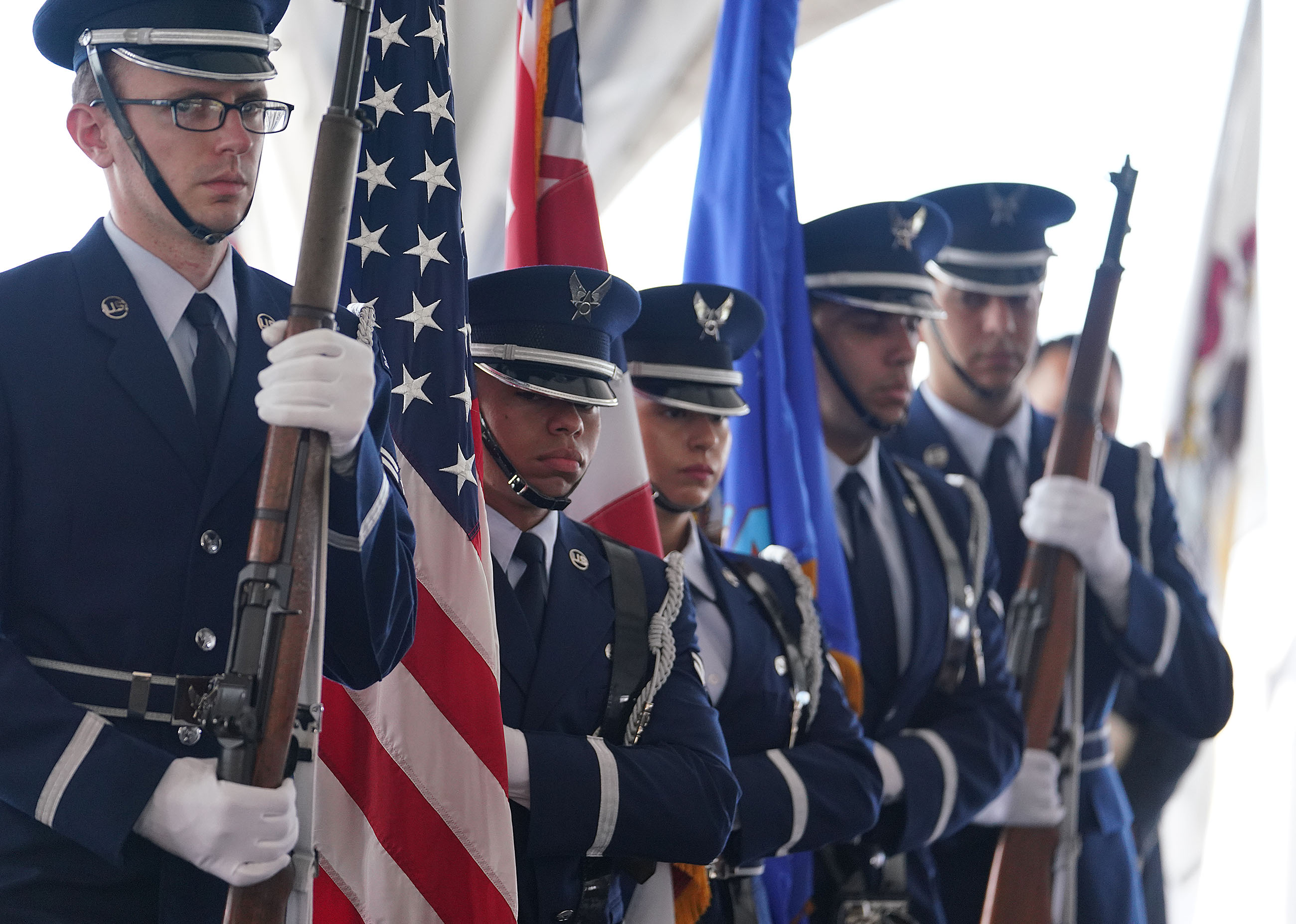 <p>Members of a U.S. Navy honor guard presented the colors during the ceremony.</p>