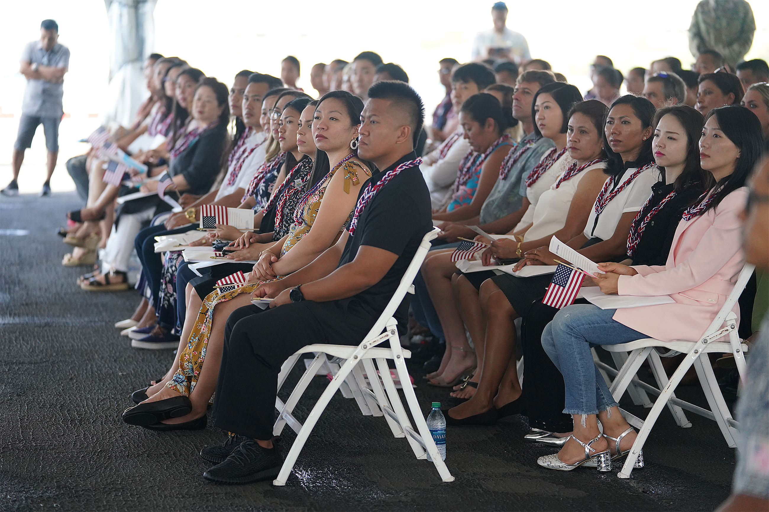 <p>The 68 local immigrants who became American citizens during a naturalization ceremony aboard the USS Missouri battleship Thursday came from 15 countries. Thirty were from the Philippines, 10 from South Korea and nine from China.</p>