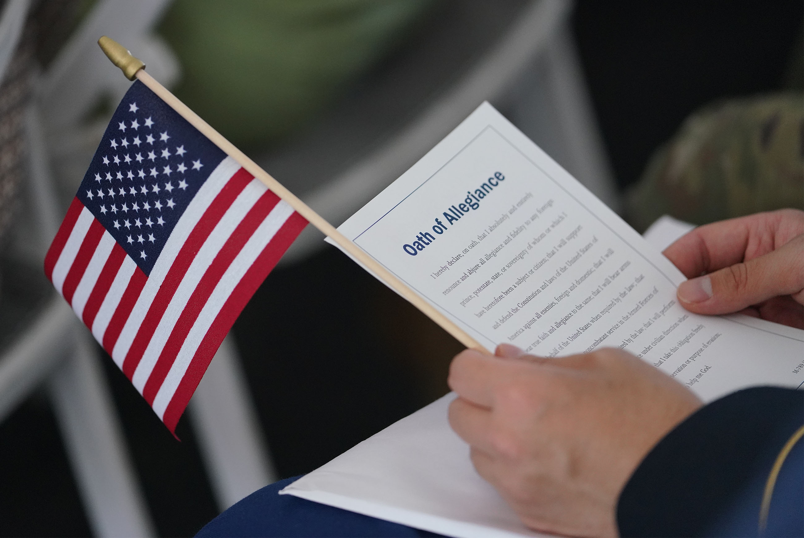 <p>Before earning the right to complete the naturalization process, immigrants had to pass English and U.S. civics tests. As a final step Thursday, they recited the Oath of Allegiance, which is more elaborate than the Pledge of Allegiance sometimes recited by Americans.</p>