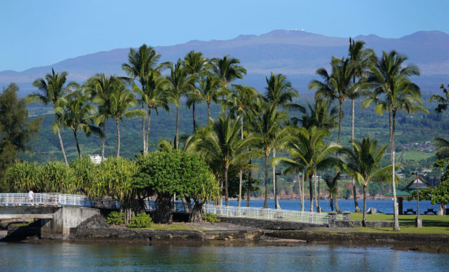View thru Coconut Island with Mauna Kea Observatories.