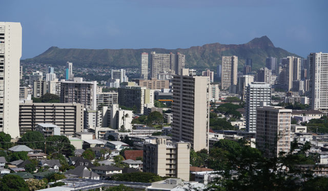 Makiki Condominiums and apartments with Diamond Head.