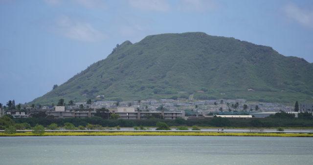 Kaneohe Marine Base housing with Mokapu Peninsula.