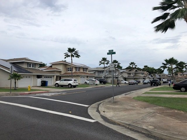 Privatized military housing near the gate of Joint Base Pearl Harbor