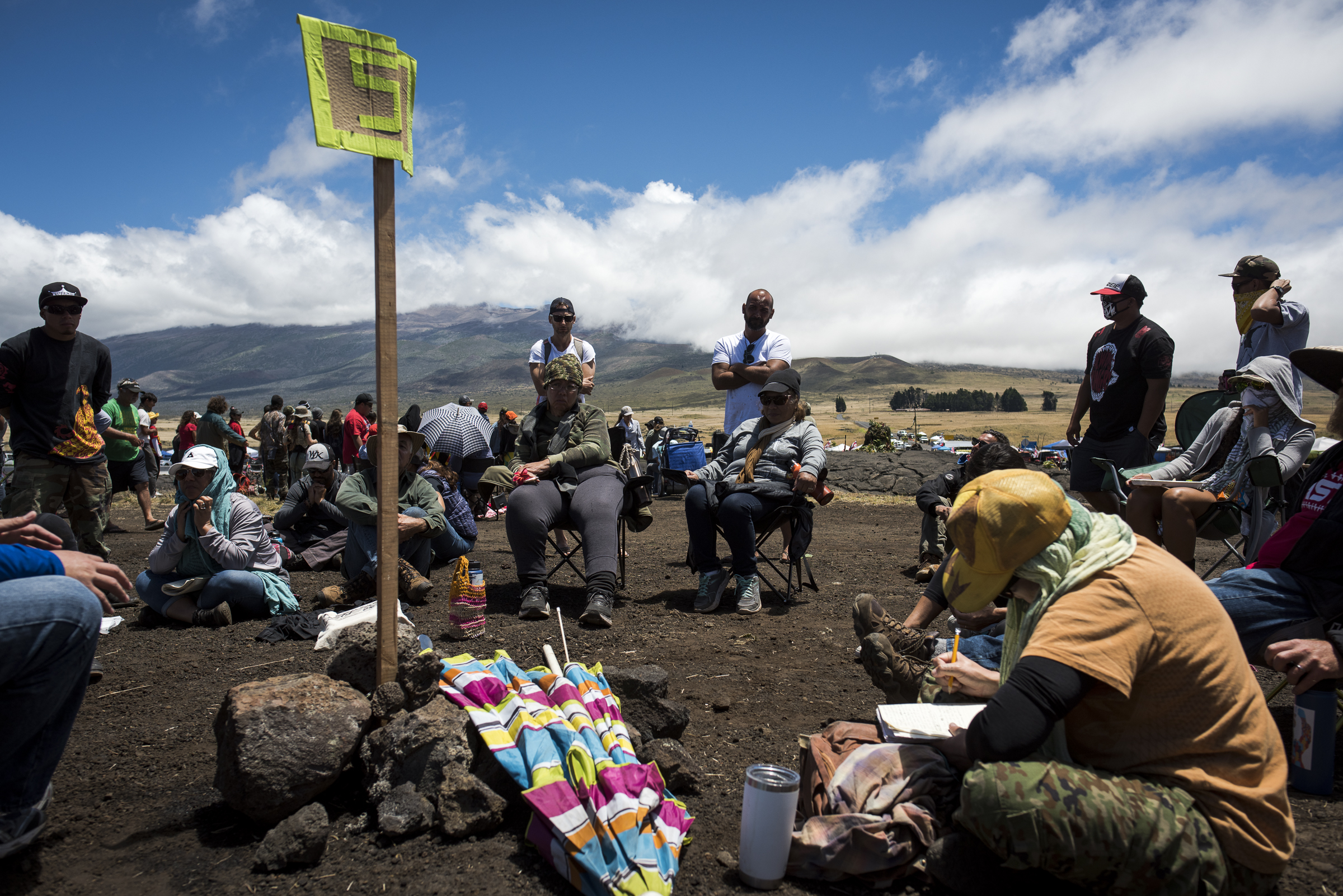 <p>Morning classes meet at Pu'uhuluhulu, where hundreds of opponents of the planned Thirty Meter Telescope have been camping out since July 15. Class offerings include the Hawaiian language and hula.</p>