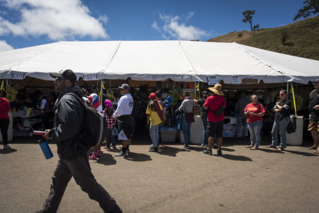 The food tent at Pu'uhonua o Pu'u Huluhulu on July 26, 2019. The kitchen provides three hot meals per day and snacks and drinks are always available.