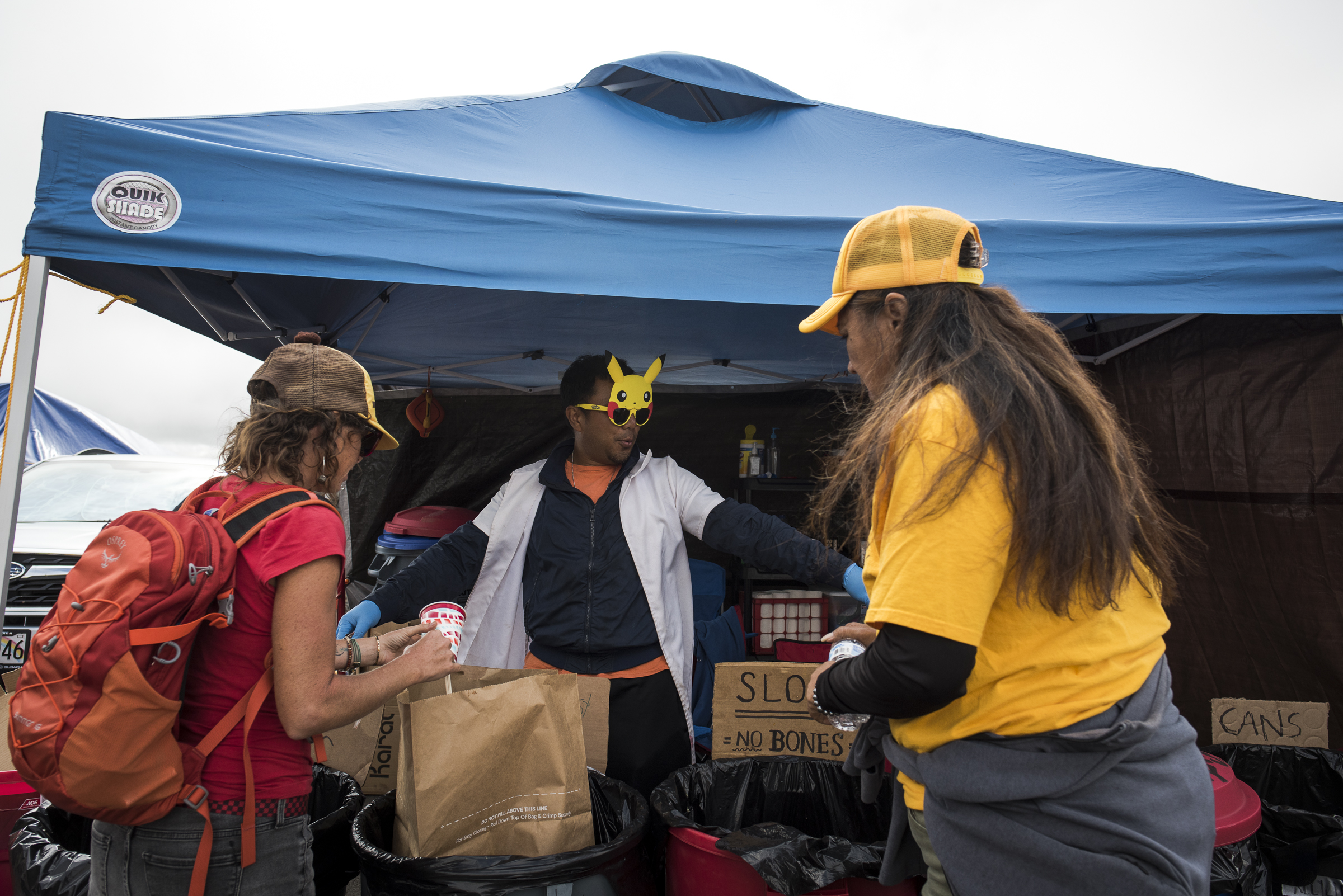 <p>As part of their mini-city, the activists have set up a recycling and trash tent.</p>