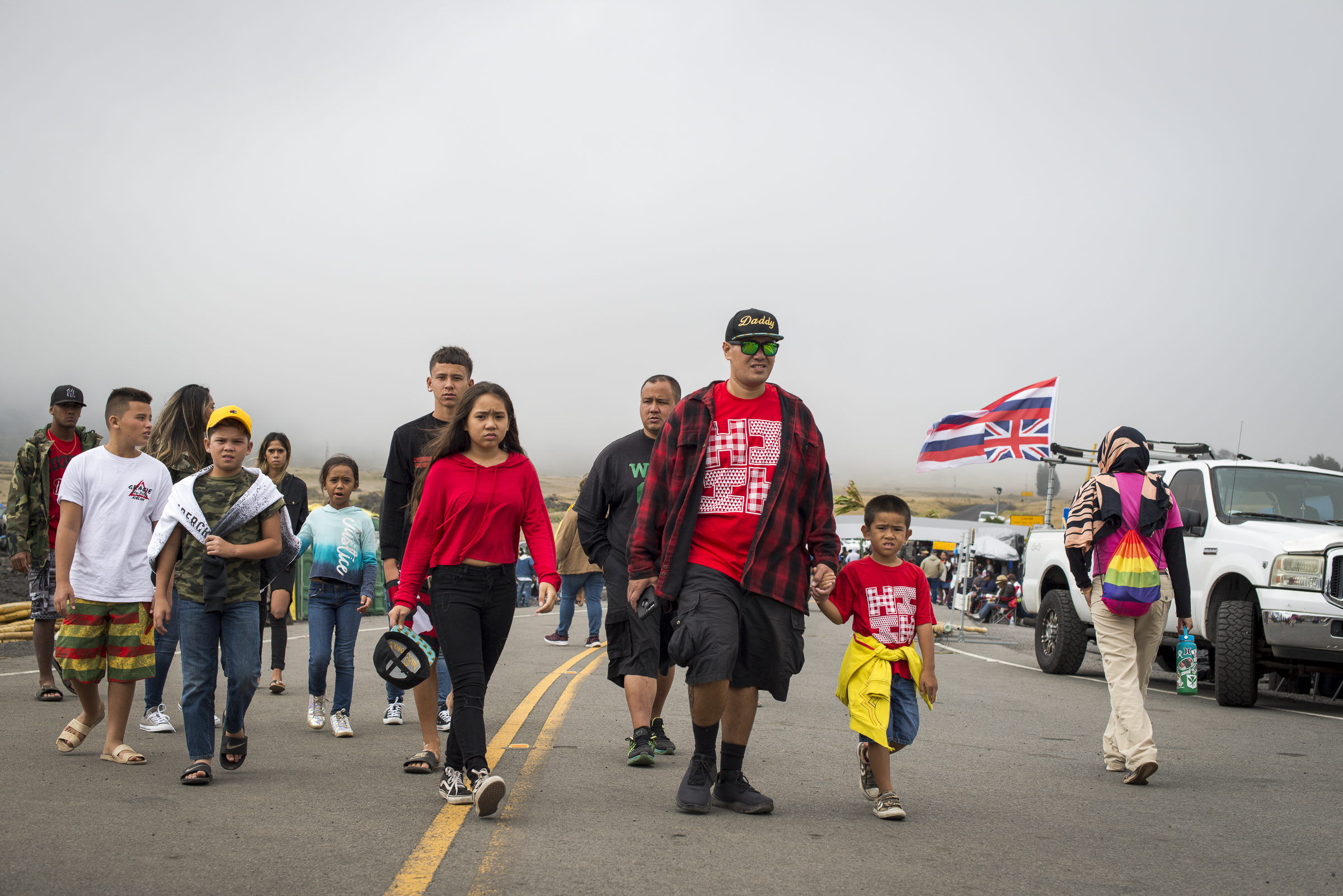 <p>New arrivals Friday at Pu'uhuluhulu, where activists have stressed a nonviolent approach to their blockage of the Mauna Kea Access Road.</p>