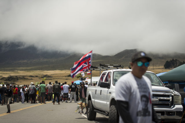 KIa'i gather for olelos (speeches) at Mauna Kea Access Road on July 26, 2019.