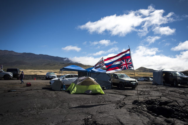 Kia'i, meaning protectors in Hawaiian, make camp at the base of Mauna Kea in an attempt to stop construction of a massive telescope on July 26, 2019. Mauna Kea is sacred to many Native Hawaiians.