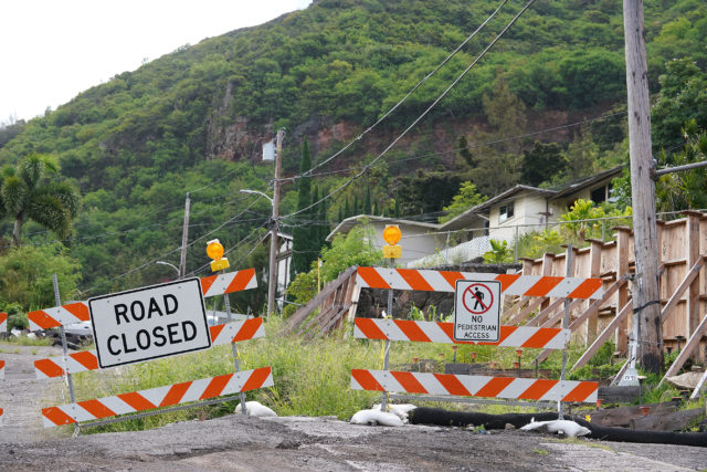 Portion of Kuahea Street in Palolo Valley remains closed due to the foundations shifting.