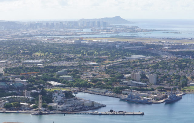 Joint Base Pearl Harbor Hickam with Diamond Head in background.