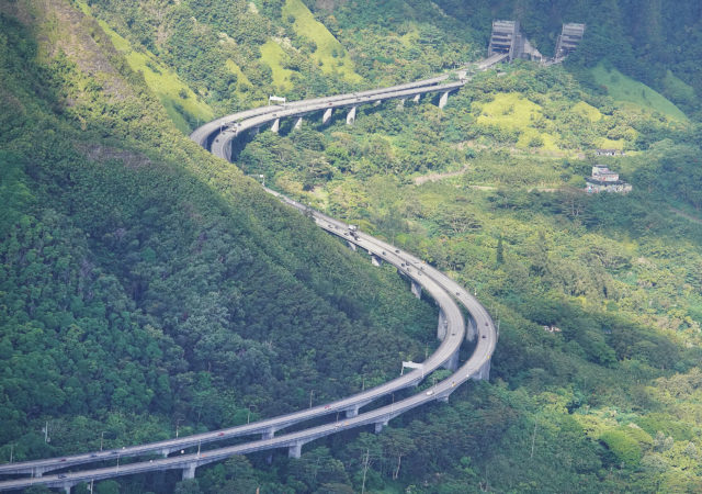 H3 Freeway on the Kaneohe Side of the Koolau Mountains.