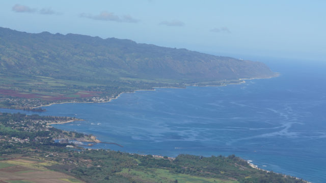Waialua and Mokuleia with Kaena Point, on right side of photograph.
