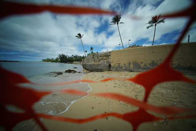 Caution tape is up at Haleiwa Beach Park as the foundation is being compromised from waves.