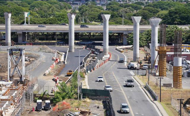 HART Rail Guideway columns at the Aolele Street and Nimitz intersection near the Daniel K Inouye International Airport.
