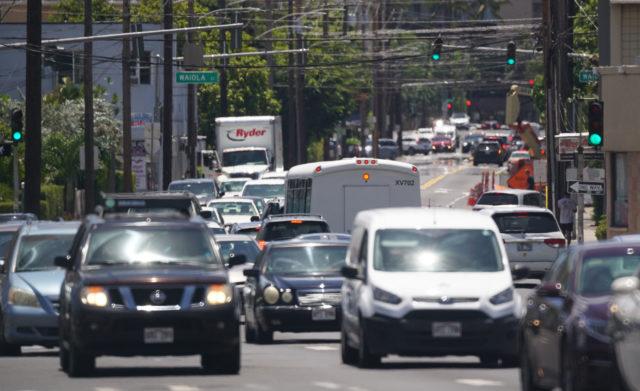 Traffic Lights along McCully Street.
