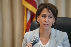 Department of Education Superintendent Christina Kishimoto speaks during board meeting.