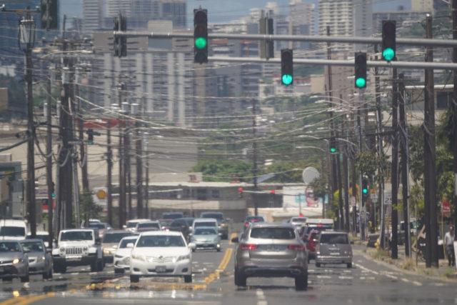 Traffic Lights along Waialae Avenue.