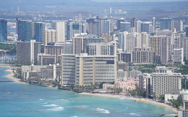 Waikiki Beach. Sheraton hotel, Hilton, The Royal Hawaiian Hotel and the Moana Surfrider Hotels and more.