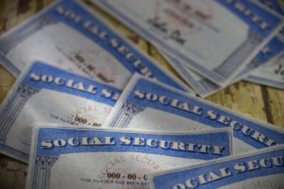 studio shot of social security card
