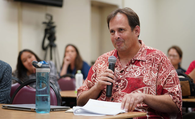 HSTA President Corey Rosenlee during DOE salary session held at McKinley Adult School.