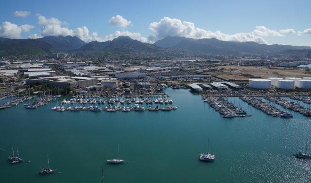 Keehi Lagoon with boats Honolulu Kalihi aerial photo.