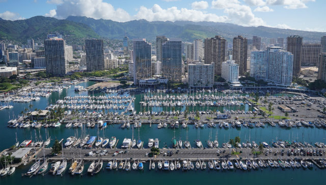 Ala Wai Harbor Waikiki Beach Hawaii Prince aerial 0317.