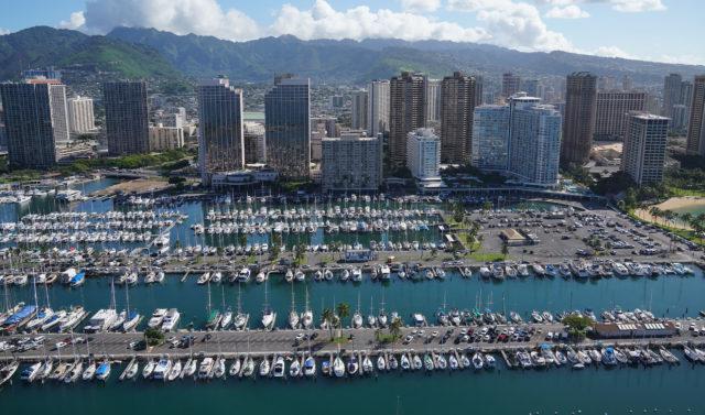 Ala Wai Harbor Waikiki Beach Hawaii Prince aerial 0319.