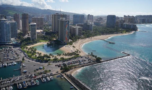 Waikiki Hilton Hawaiian Village Hale Koa Hotel aerial Waikiki Beach 0324.
