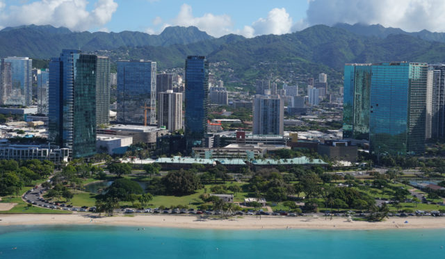 Ward and Howard Hughes properties Ala Moana Beach with Kakaako Condominiums Development aerial.