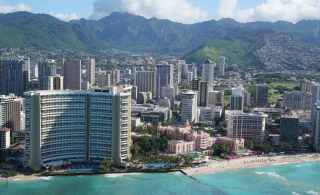 Waikiki Beach and Hotels and Manoa Koolau Mountains aerial 0361.