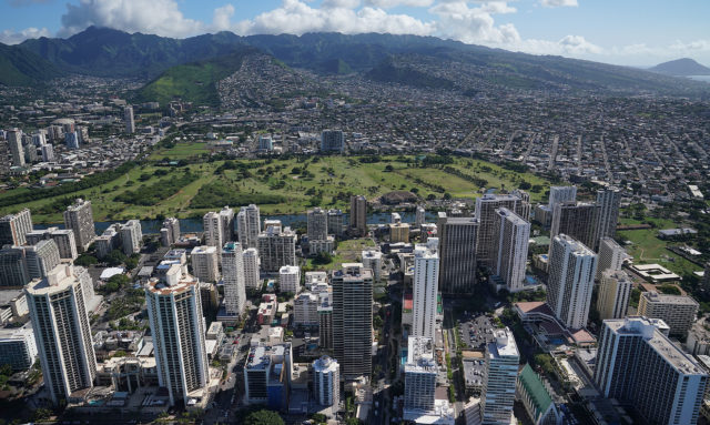 Waikiki Beach Hotels with Ala Wai Golf Course Canal aerial 0402.