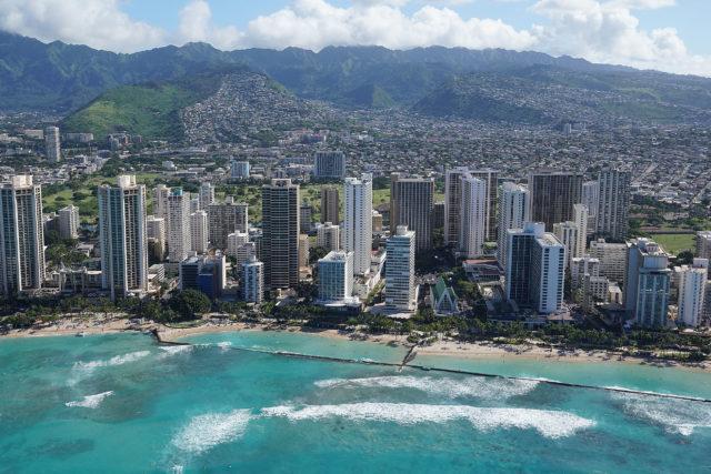 Waikiki Hotels and Waikiki Beach aerial 0371.
