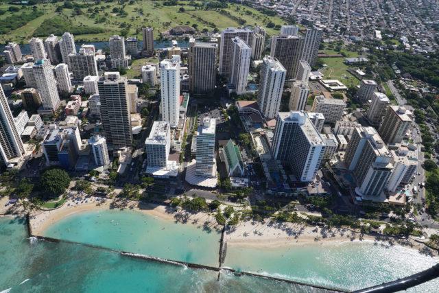 Waikiki Zoo aerial Waikiki along Kapahulu Avenue Ala Wai Golf course watershed 0407.