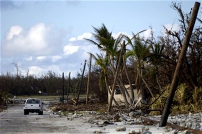 Devastation at Wake Island in the wake of a disastrous typhoon in 2006