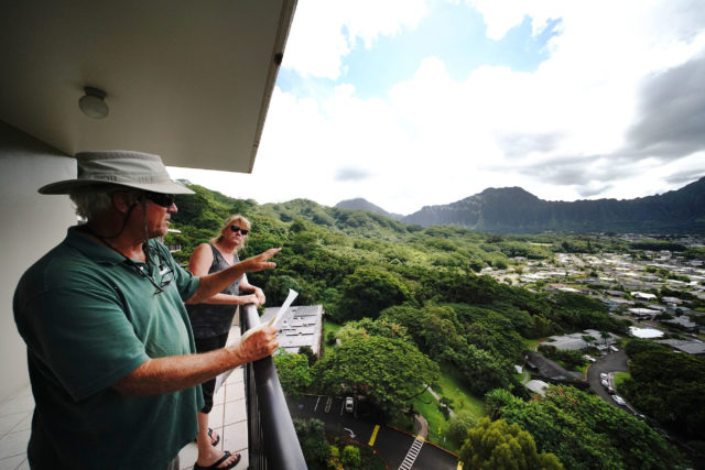 Richard McCreedy and his wife Julianne McGreedy view from Pohai Nani retirement home looking at right, future planned cemetery in Kaneohe.