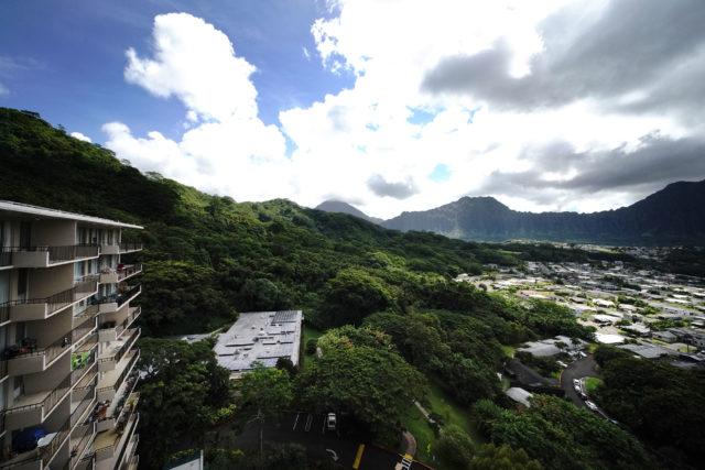 Left, Pohai Nani Kaneohe Retirement home view with planned cemetery on right side of frame.