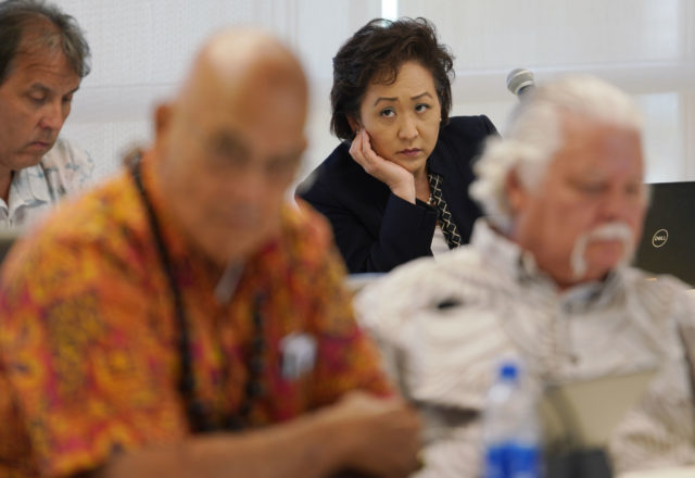 University of Hawaii VP of Legal Affairs Carrie Okinaga at UH Regents meeting held at the Leeward Community College campus.
