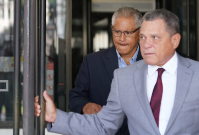 Louis Kealoha leaves with Attorney Gary Modafferi leaving US District Court.