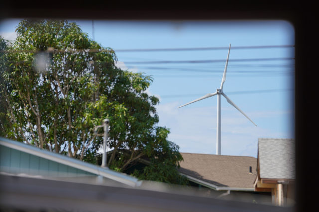Neva Fotu's iving room view of a Kahuku windmill. She was not happy about this.