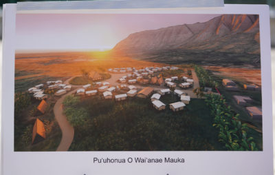 Puuhonua O Waianae press conference announcing the purchase of 5 acres in off of Waianae Valley Road. Group 70 assisted with this image.