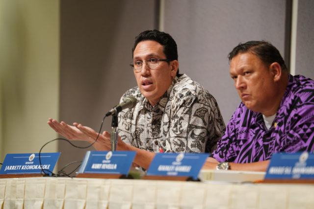 Senator Jarrett Keohokalole during DHHL meeting held at the Capitol.
