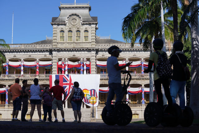 Iolani Palace is decorated for the celebration of King Kalakaua's 183rd birthday on November 16, 2019.