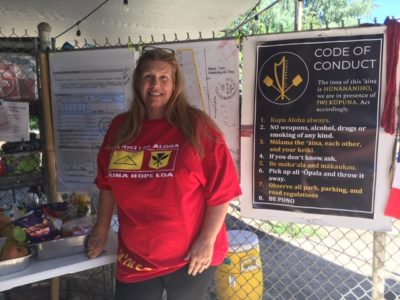 "Waimanalo resident Tracy Punea is part of the group ""holding space"" at the park since late September"