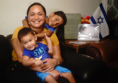 Bree Maumausolo with her son Brendan Maumausolo Sale and daughter Jayden Silva-Sale at their home in Nuuanu.