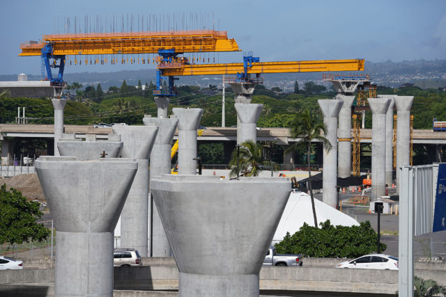 HART Rail guideway supports near Parking structure at the Airport. Looking mauka from the interisland parking structure.