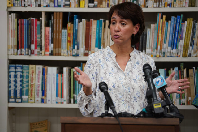 Dept of Education Superintendent Christina Kishimoto DOE press conference announcing pay increases for special needs students and other teachers.